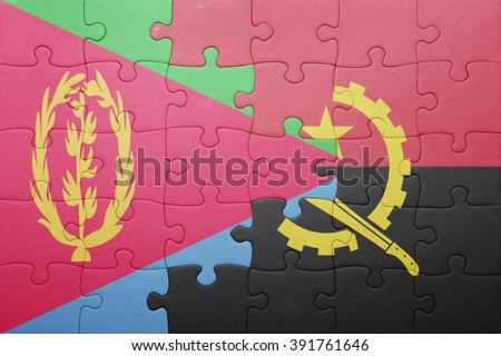 puzzle with the national flag of angola and eritrea . concept - stock photo