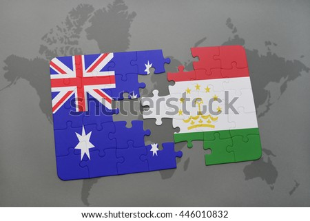 puzzle with the national flag of australia and tajikistan on a world map background.3D illustration