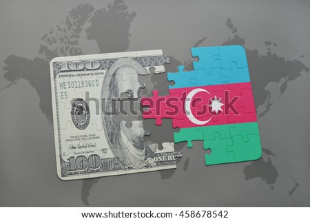 puzzle with the national flag of azerbaijan and dollar banknote on a world map background. 3D illustration