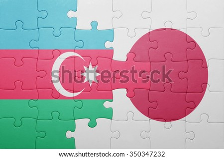 puzzle with the national flag of azerbaijan and japan. concept