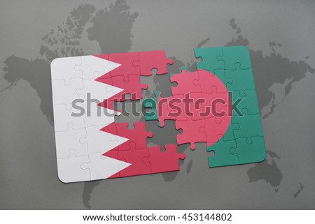 puzzle with the national flag of bahrain and bangladesh on a world map background. 3D illustration
