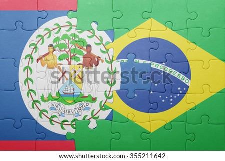 puzzle with the national flag of belize and brazil . concept