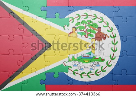 puzzle with the national flag of belize and guyana .concept