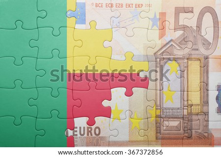 puzzle with the national flag of benin and euro banknote . concept - stock photo
