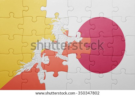 puzzle with the national flag of bhutan and japan. concept