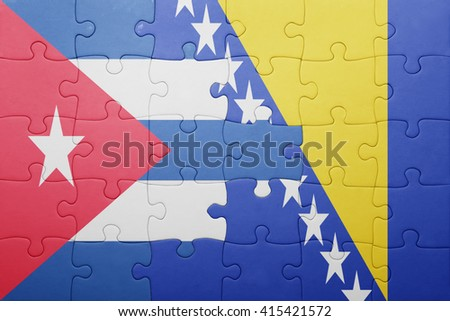 puzzle with the national flag of bosnia and herzegovina and cuba . concept - stock photo