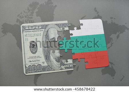 puzzle with the national flag of bulgaria and dollar banknote on a world map background. 3D illustration - stock photo