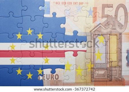 puzzle with the national flag of cape verde and euro banknote . concept - stock photo