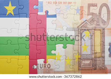 puzzle with the national flag of central african republic and euro banknote . concept - stock photo