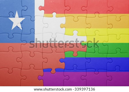 puzzle with the national flag of chile and gay flag.concept - stock photo