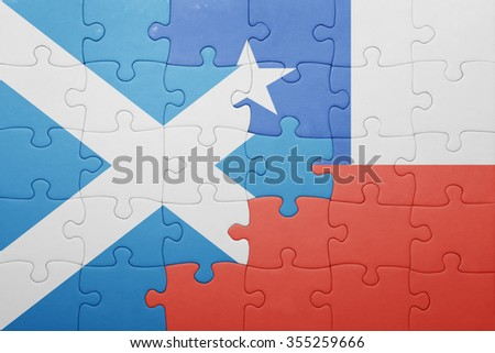 puzzle with the national flag of chile and scotland . concept