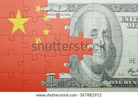 puzzle with the national flag of china and dollar banknote . concept - stock photo