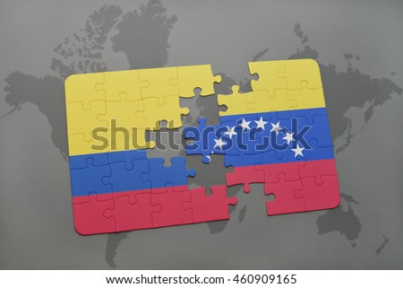 Puzzle national flag colombia venezuela on ilustracin de puzzle with the national flag of colombia and venezuela on a world map background 3d gumiabroncs Image collections