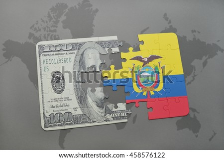 puzzle with the national flag of ecuador and dollar banknote on a world map background. 3D illustration