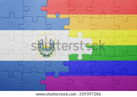 puzzle with the national flag of el salvador and gay flag.concept - stock photo