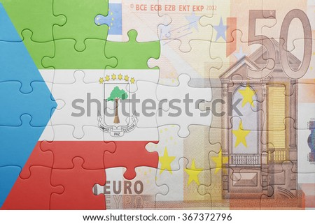 puzzle with the national flag of equatorial guinea and euro banknote . concept - stock photo