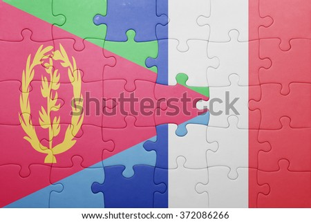 puzzle with the national flag of eritrea and france . concept - stock photo