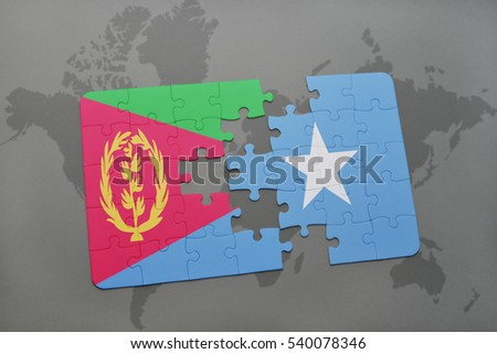 puzzle with the national flag of eritrea and somalia on a world map background. 3D illustration