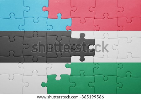 puzzle with the national flag of estonia and hungary . concept