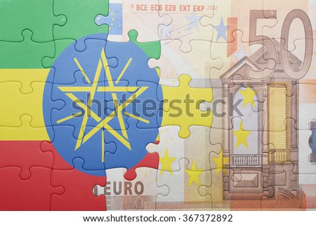 puzzle with the national flag of ethiopia and euro banknote . concept - stock photo