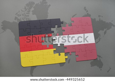 puzzle with the national flag of germany and latvia on a world map background. 3D illustration - stock photo