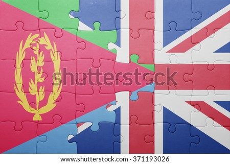 puzzle with the national flag of great britain and eritrea . concept - stock photo