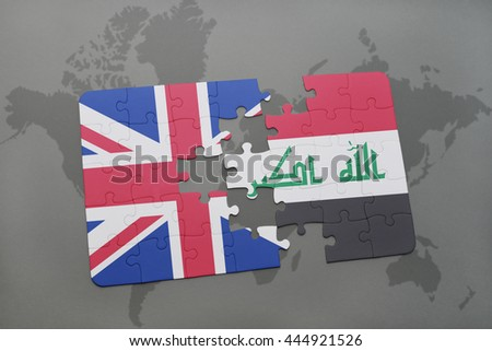 puzzle with the national flag of great britain and iraq on a world map background.