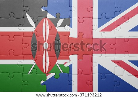 puzzle with the national flag of great britain and kenya . concept - stock photo