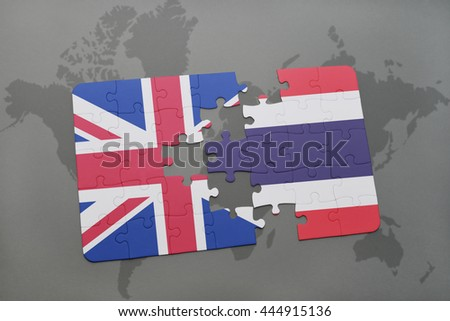 puzzle with the national flag of great britain and thailand on a world map background. - stock photo