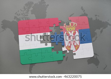 Puzzle national flag hungary serbia on stock illustration 463220075 puzzle with the national flag of hungary and serbia on a world map background 3d gumiabroncs Gallery