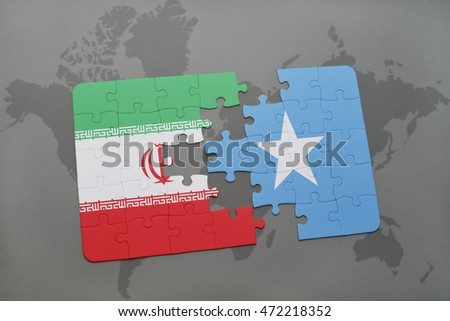puzzle with the national flag of iran and somalia on a world map background. 3D illustration