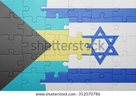 puzzle with the national flag of israel and bahamas . concept