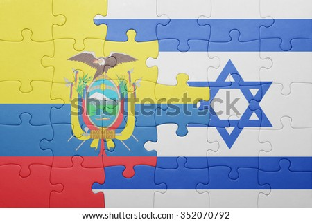 puzzle with the national flag of israel and ecuador . concept