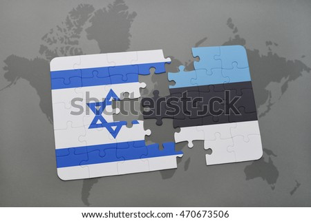 puzzle with the national flag of israel and estonia on a world map background. 3D illustration