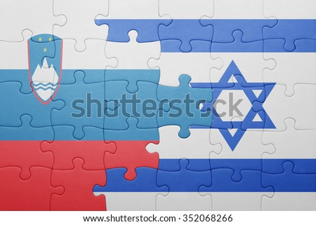 puzzle with the national flag of israel and slovenia . concept