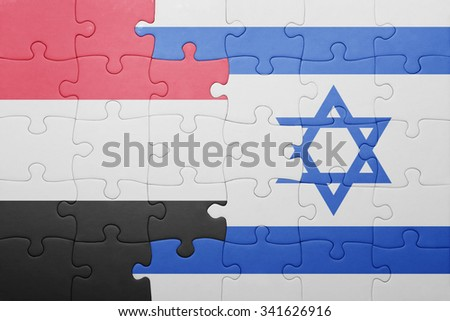 puzzle with the national flag of israel and yemen . concept
