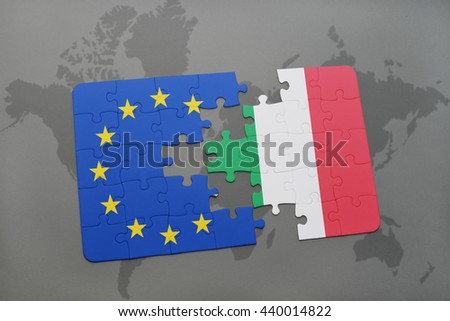 puzzle with the national flag of italy and european union on a world map background.