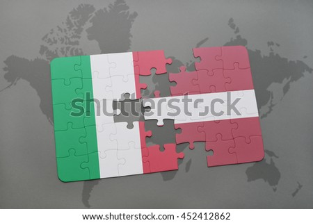 puzzle with the national flag of italy and latvia on a world map background. 3D illustration - stock photo