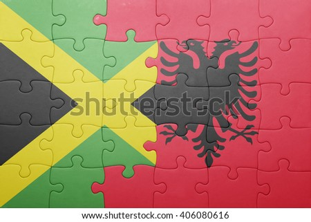puzzle with the national flag of jamaica and albania . concept - stock photo