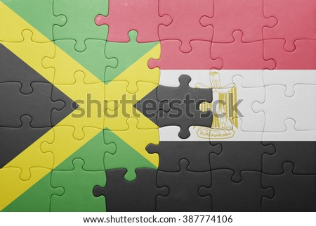 puzzle with the national flag of jamaica and egypt. concept - stock photo