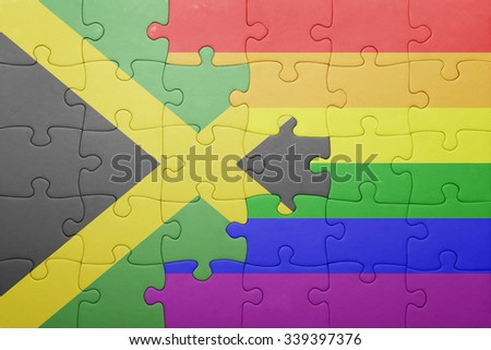 puzzle with the national flag of jamaica and gay flag.concept - stock photo