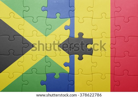 puzzle with the national flag of jamaica and romania . concept - stock photo