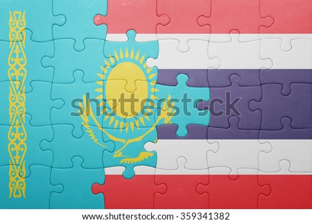 puzzle with the national flag of kazakhstan and thailand . concept