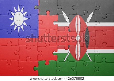 puzzle with the national flag of kenya and taiwan. concept - stock photo