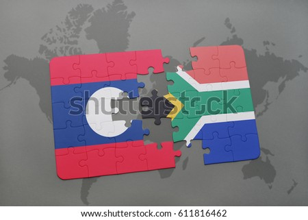 Puzzle national flag laos south africa stock illustration 611816462 puzzle with the national flag of laos and south africa on a world map background gumiabroncs Image collections