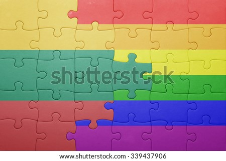 puzzle with the national flag of lithuania and gay flag.concept