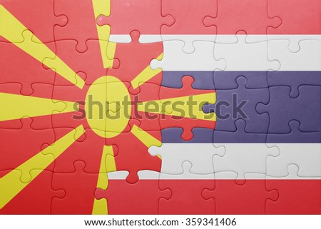 puzzle with the national flag of macedonia and thailand . concept