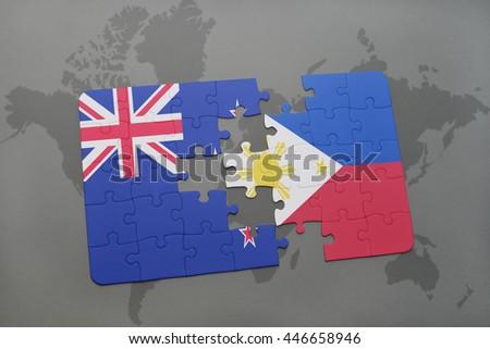 puzzle with the national flag of new zealand and philippines on a world map background. 3D illustration