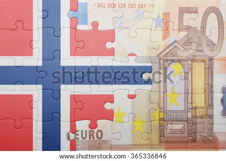 puzzle with the national flag of norway and euro banknote . concept