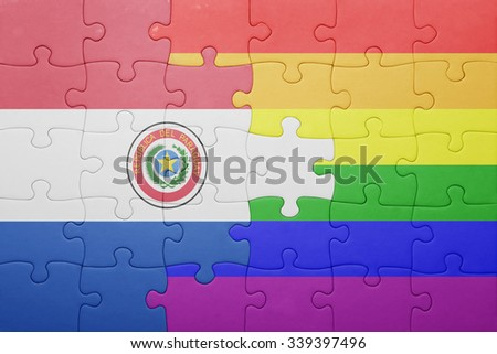 puzzle with the national flag of paraguay and gay flag.concept - stock photo